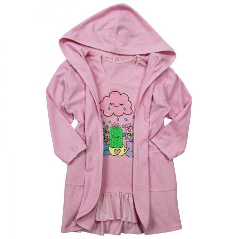 Халат Модель 884 розовый с сорочкой